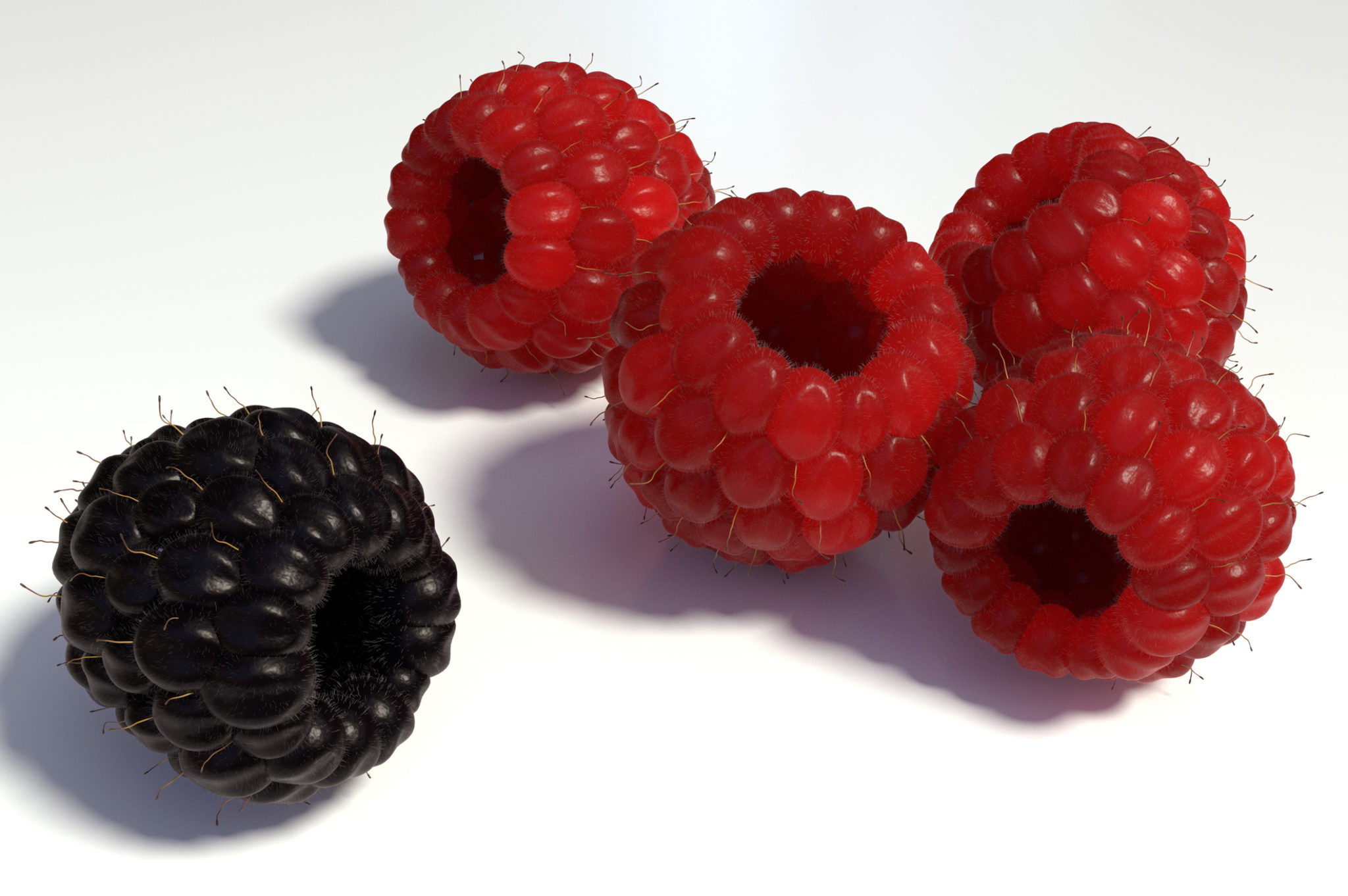 Five raspberries—four red, one black.