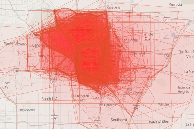 On a map of L.A.'s Eastside, its boundaries have been redrawn hundreds of times in bright red.