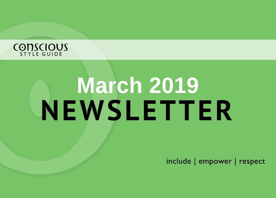 Green graphic with white and black text stating month/year of newsletter.