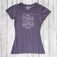 "A dusty-purple fitted T-shirt with a ""Make Peace With Words"" hand-lettered design."