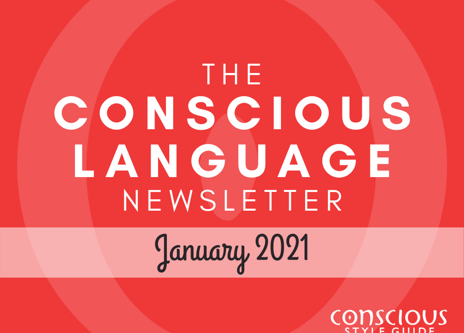 """Red textured background with """"The Conscious Language Newsletter"""" and the month, and the Conscious Style Guide logo."""