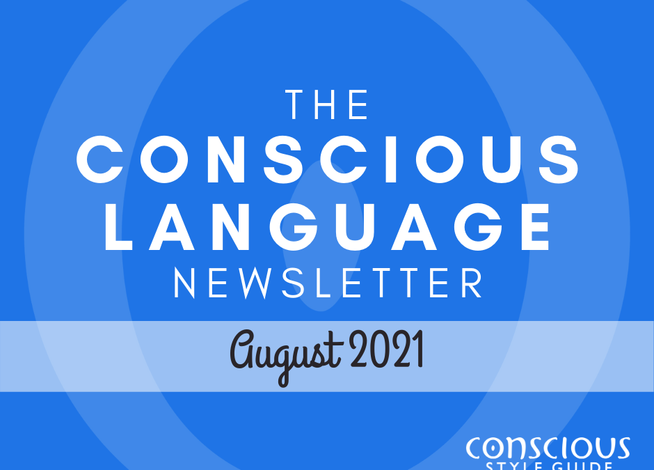 """Ocean-blue textured background with """"The Conscious Language Newsletter"""" and the month, and the Conscious Style Guide logo."""
