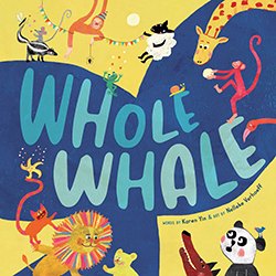 Picture book cover: A large blue whale tail with the title,